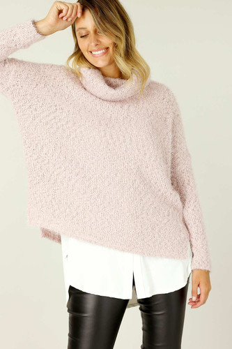 Pink Fluffy Turtle Neck Jumper