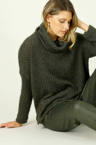 Khaki Fluffy Turtle Neck Jumper