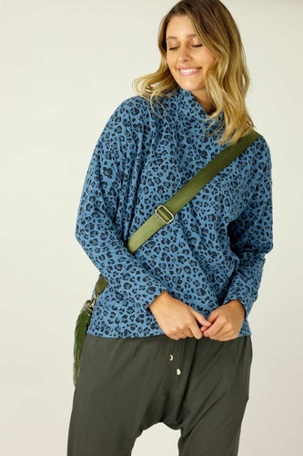 Blue Animal Jacquard Jumper