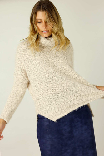 Ivory Fluffy Turtle Neck Jumper
