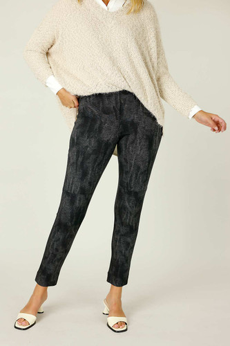 Black Denim Ponte Panel Pant