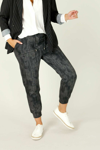 Black Denim Ponte Stitch Jogger