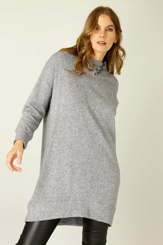 Grey Lux Oversized Jumper Dress