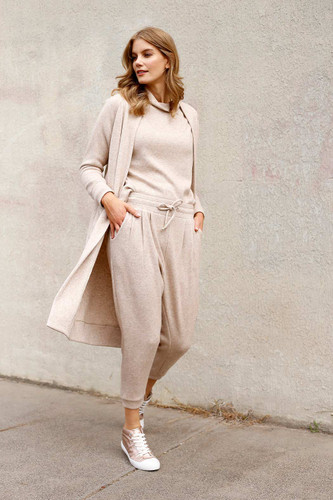 Beige Lux Drawstring Slouch Pant