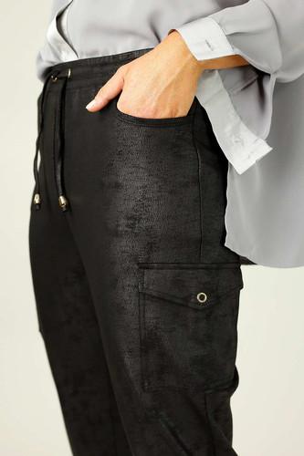 Black Leatherette Cargo Jogger - SALE