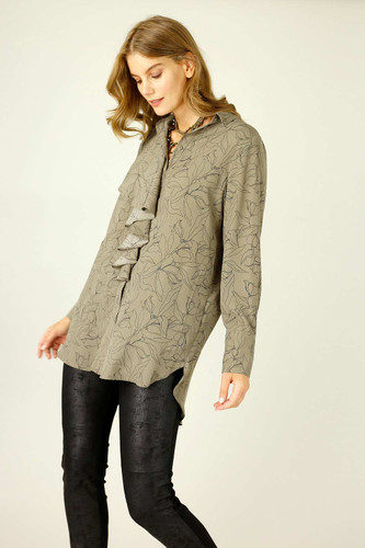 Mocha Floral Nano Waterfall Shirt