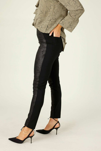 Black Leatherette Panel Pant