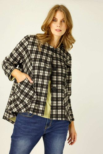 Caramel Check Swing Coat