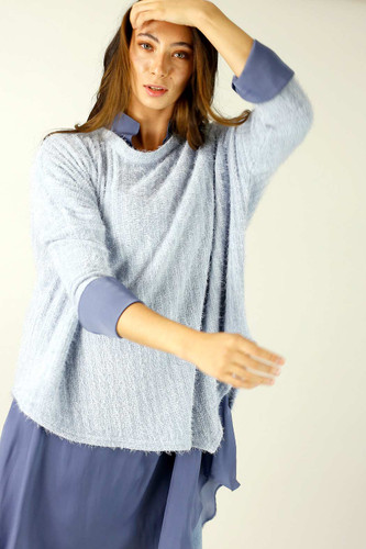 Light Blue Eyelash Knit Overtop