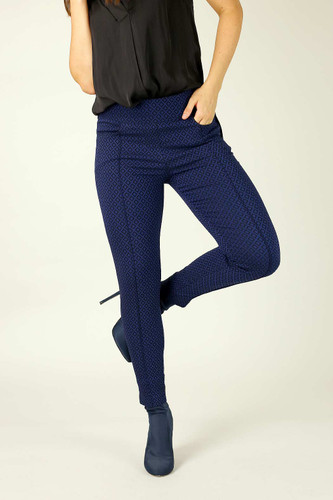 Navy Diamond Bengaline Pintuck Jean