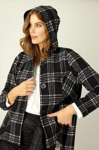 Black & White Check Swing Coat