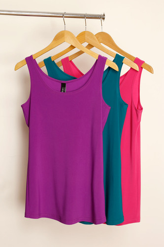 3 Pack 70cm Jersey Cami (Magenta, Jade & Pink)