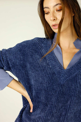 Blue Velour Vee Jumper