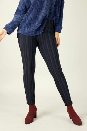 Purple Stripe Ponte Slim Pant