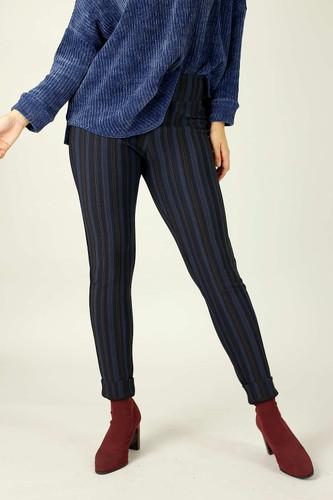 Purple Stripe Ponte Slim Pant-SALE