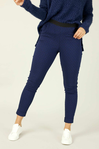 Navy Diamond Bengaline Cuffed Jogger