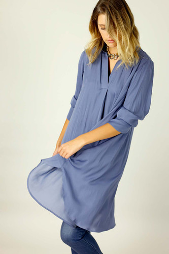 Chambray Seta Oversized Blogger Shirt