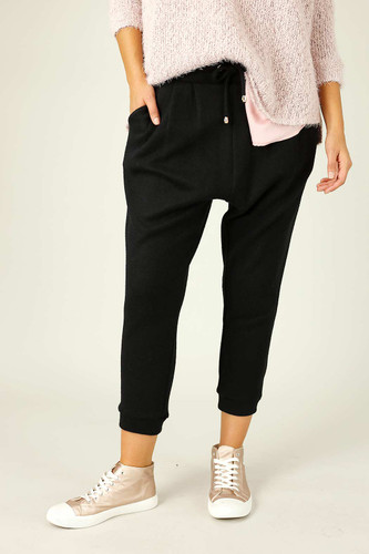 Black Lux Drawstring Slouch Pant