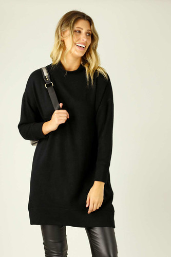 Black Lux Long Oversized Jumper