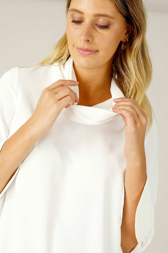 White Soft Touch Drape Blouse