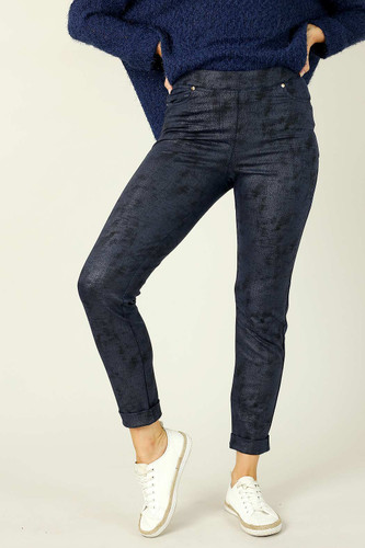 Ink Leatherette Pull On Jean