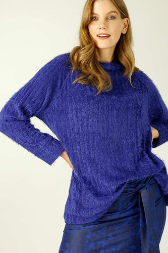 Cobalt Eyelash Knit Turtle Jumper