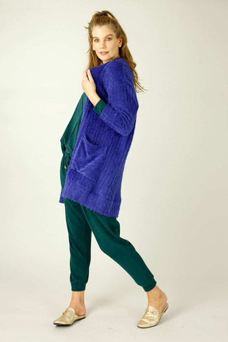 Cobalt Eyelash Knit Relaxed Cardi