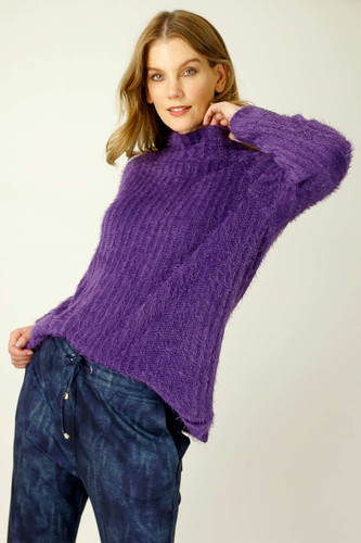 Purple Eyelash Knit Turtle Jumper