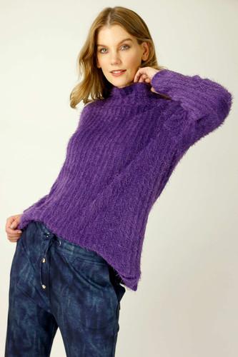 Purple Eyelash Knit Turtle Jumper - SALE
