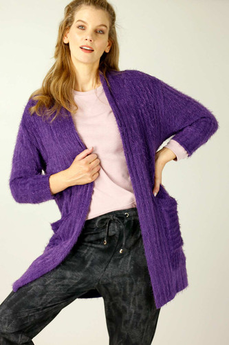 Purple Eyelash Knit Relaxed Cardi