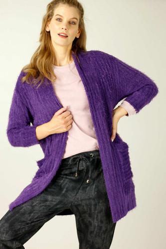 Purple Eyelash Knit Relaxed Cardigan - SALE