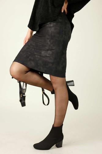 Black Foil Leatherette Mini Skirt