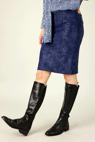 Navy Foil Leatherette Mini Skirt