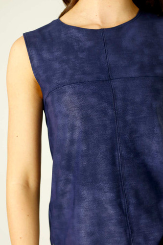 Navy Leatherette Matrix Cami