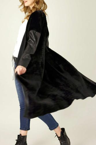 Black Faux Fur Coatigan - SALE