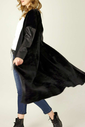 Black Faux Fur Coatigan - FINAL SALE