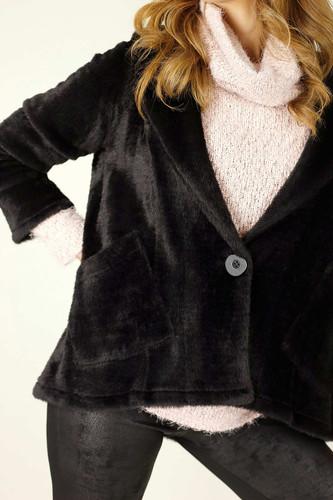 Black Faux Fur Swing Jacket