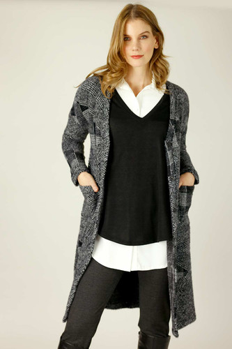 Charcoal Fur Sleek Coatigan
