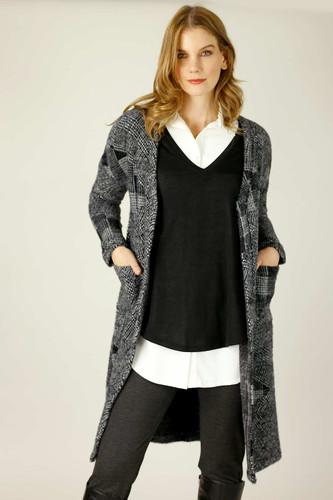 Charcoal Fur Sleek Coatigan - SALE