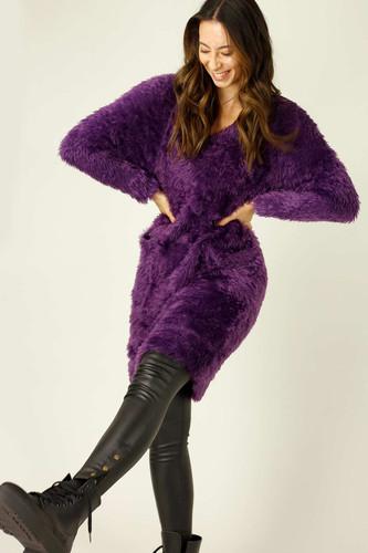 Purple Plush Jumper Dress