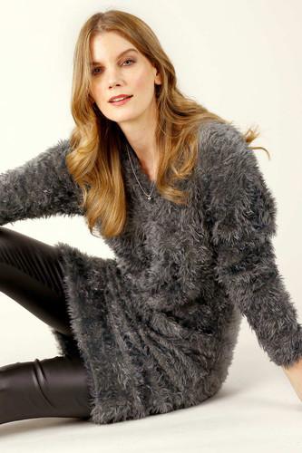 Dark Grey Plush Jumper Dress - FINAL SALE