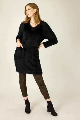 Black Plush Jumper Dress - FINAL SALE