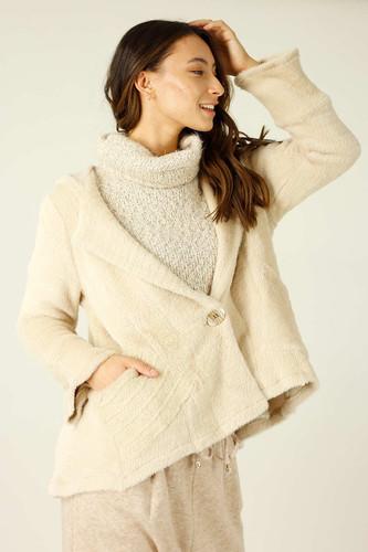 Beige Faux Fur Swing Jacket - SALE