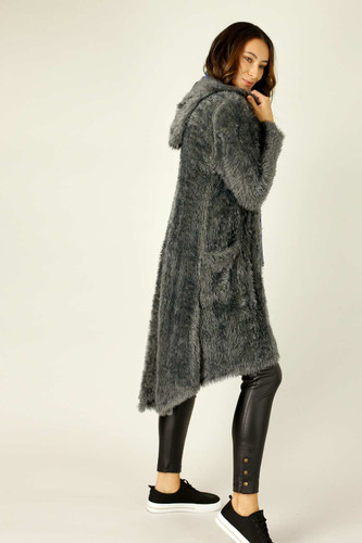 Dark Grey Plush Travel Cardigan - SALE