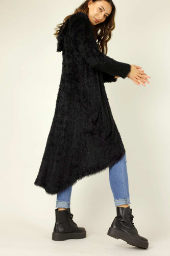 Black Plush Travel Cardigan - SALE