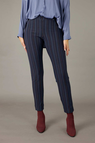 Lilac Stripe Ponte Relaxed Slim Jean
