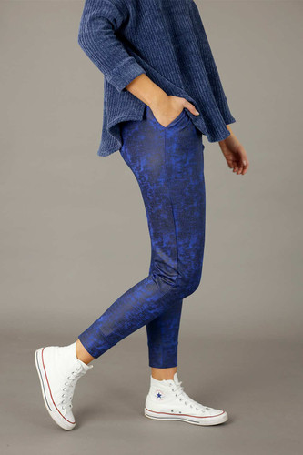 Cobalt Leatherette Slouch Pant