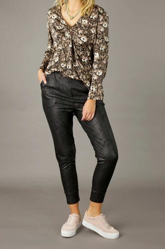 Black Leatherette Slouch Pant