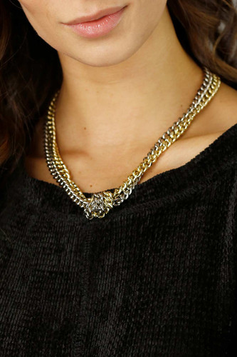 Gold Silver Knotted Necklace