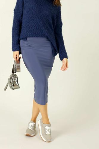 Slate Jersey Midi Skirt